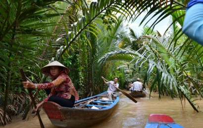 Sampan ride in Mekong River
