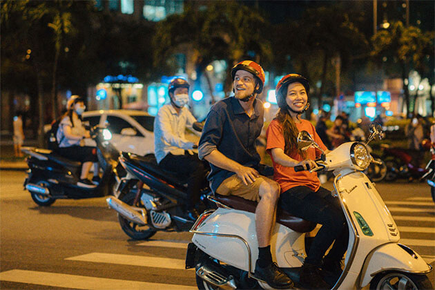 Ho Chi Minh Nightlife on back of Scooter