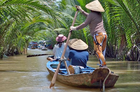 Sampan ride through Mekong Delta