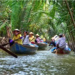 Sampan ride through the canals of Mekong Delta