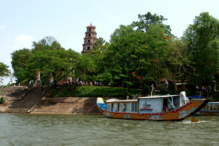 View of Thien Mu Pagoda from Perfume River