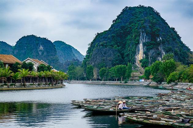 Tam Coc dock in Vietnam Muslim Tour